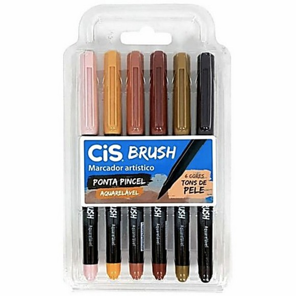 CANETA BRUSH PONTA PINCEL CIS TONS DE PELE C/6