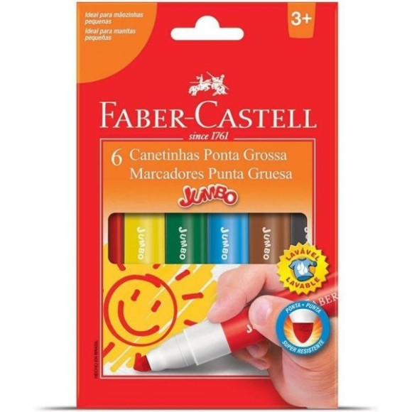 Canetinha Jumbo - 6 cores Faber-Castell