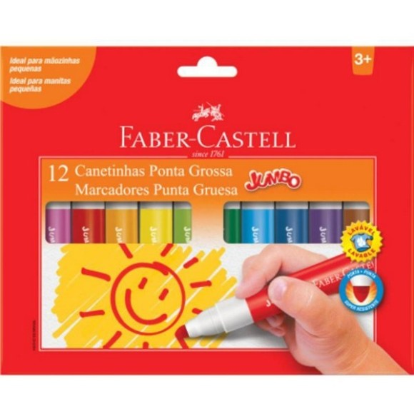 Canetinha Jumbo - 12 cores Faber-Castell