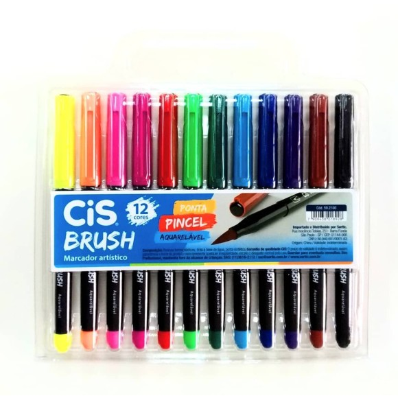 Marcador Aquarelavel Cis Brush Est C/12 Cores